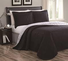 Cressida Black/Gray Reversible Bedspread/Quilt Set & Cressida Black/Gray Reversible Bedspread/Quilt Set Queen Adamdwight.com