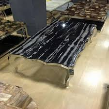 China B196 Black Marble Stainless Steel Coffee Tables For Sale