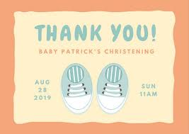 baptism card template blue shoes christening thank you card templates by canva