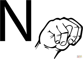 asl coloring pages best asl sign age letter n coloring page free printable pages