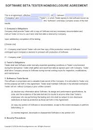 Nda Template For Startup Free Software Beta Tester Non Disclosure Agreement Nda