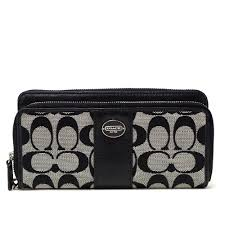 Coach /COACH legacy signature double zip wallet wristlet outlet F48748  SBWBK ( black white x black )