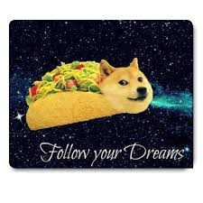 Doge in Taco Chicken Rolls Flying Across the Galaxy Space Fllow Your Dream  Amusing Mouse Pad