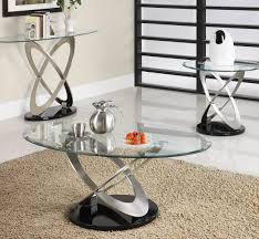 homelegance firth round glass end table in chrome black metal