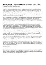 Game Tester Cv Game Tester Cover Letter Under Fontanacountryinn Com