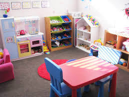 ... Exquisite Arrangement Interior For Cute Playroom Ideas : Marvelous  Rectangular Red Wooden Table With Blue Wooden ...