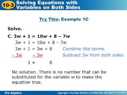try this example 1c solve c 3w 1 10w 8