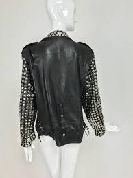 vintage heavily studded black leather motorcycle jacket mens small for 2