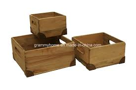 natural pine wood decorative crates boxes with handle and metal corner