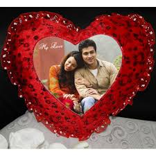 red heart shaped cushion personalised photo with love design
