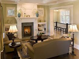 traditional living room with box ceiling built in bookshelf ina cottage gilda end table cement fireplace