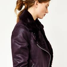 warehouse oversized biker jacket berry 4