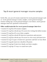 Top 8 resort general manager resume samples In this file, you can ref resume  materials ...