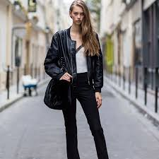 street style leather jacket and jeans