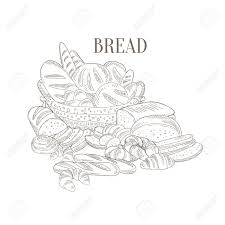 diffe bread still life hand drawn realistic detailed sketch in cly simple pencil style on white