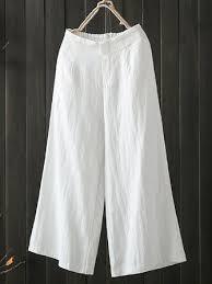 <b>high elastic waist pocket</b> cotton pants at Banggood