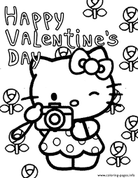 Pick up your colored pencils and start coloring right now! Hello Kitty And Flowers Valentines Coloring Pages Printable