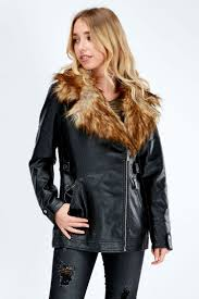 faux fur collar longline biker jacket