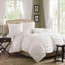 horizon ruched bedding set white