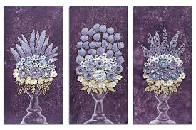fl wall art paintings on 3 canvases in dark purple