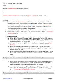 event agreement contract promoter venue contract template