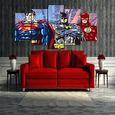 Superman Room Decor Printed Cartoon Superman Batman Flash Justice League  Group Painting Canvas Print Room Decor . Superman Room Decor ...
