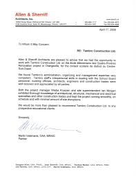 Letter Of Recommendation For Project Manager Reference Letters Tambro Construction