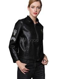 black leather jacket long sleeve stand collar wind proof boyfriend short jacket for women no