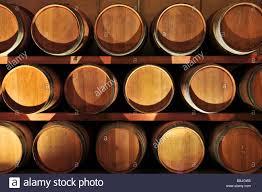 Stacked oak wine barrels in winery cellar Stock Photo 24379969 Alamy