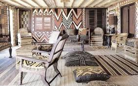 Mud cloth of all patterns and colors in this photo from African Interiors,  published by