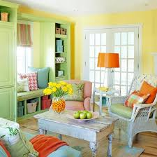 colorful living rooms. Traditional Colorful Living Room With Yellow Wall Color And Green Book Shelves Rooms
