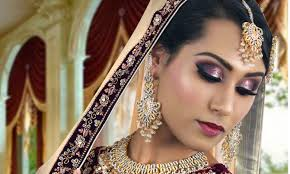 purple and silver glitter stani indian traditional bridal makeup