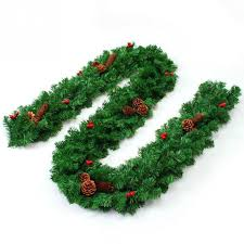 2 7m pine garland with bows artificial green wreaths hanging ornaments for home party xmas tree decoration gl ornament