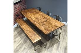 Hairpin dining table Eames Reclaimed Industrial Pallet Wood Dining Table 140cm Matching Bench With Metal Hairpin Legs Vinterior Reclaimed Industrial Pallet Wood Dining Table 140cm Matching