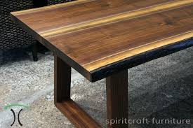black walnut live edge dining table with sapele mid century modern style legs at chicago area living edge furniture in dundee illinois