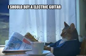 I should buy a electric guitar - Sophisticated Cat - quickmeme via Relatably.com