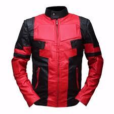 deadpool black red leather jacket