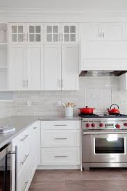White And Gray Kitchen With Red Accents Transitional Kitchen Light Gray  Subway Tile Backsplash Simple Design Decor