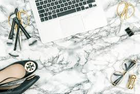 feminine office supplies. Notebook, Office Supplies, Feminine Accessories, Shoes On Bright Marble Table Background. Flat Supplies E