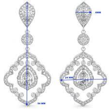 art deco chandelier cz bridal earrings