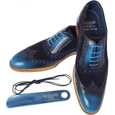 grant men 039 s smart wingtip brogue shoes in blue shine combi leather