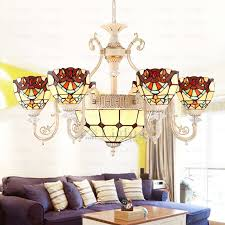 decorative light tiffany stained glass chandelier for living room in