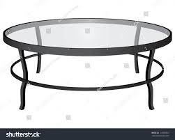 A Round Glass Coffee Table. Interior. Vector Illustration.