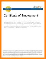 Employee Certificate Letter Certificate Employment Sample Format