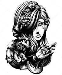Krásná Mladá Dívka Křížky Prsty Tetování Na Paži Hrozné Stock