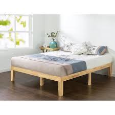 natural wood bed frame.  Bed Zinus Natural Queen Solid Wood Platform Bed Frame Throughout