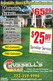 lawncare ad coupons for russell s lawn care my living magazines