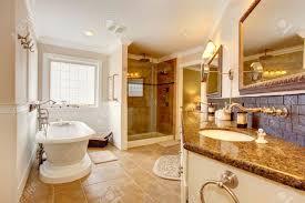 Luxus Badezimmer Interieur Das Zimmer Verfügt über Glastür Dusche
