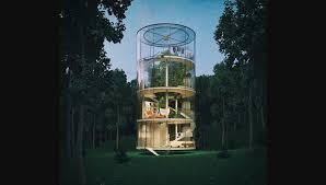 Sur Quatre étages, Cette Maison Permet Du0027avoir Une Vue à 360 Degrés Sur La  Forêt.