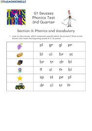 Get all these free phonics worksheets to help students become more comfortable with reading. Phonics Test G1 Seusses April 30 Worksheet